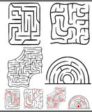 Mazes or labyrinths diagrams set Royalty Free Stock Photos