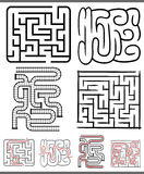 Mazes or labyrinths diagrams set Stock Photos
