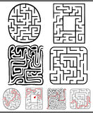 Mazes or labyrinths diagrams set Royalty Free Stock Image