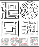 Mazes or labyrinths diagrams set Stock Image