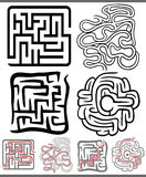 Mazes or labyrinths diagrams set Royalty Free Stock Images
