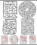 Mazes or labyrinths diagrams set. Set of Mazes or Labyrinths Graphic Diagrams for Children Education Stock Images