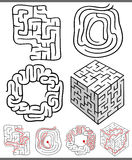 Mazes or labyrinths diagrams set. Set of Mazes or Labyrinths Graphic Diagrams for Children Education Royalty Free Stock Image