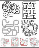 Mazes or labyrinths diagrams set. Set of Mazes or Labyrinths Graphic Diagrams for Children Education Royalty Free Stock Images