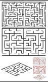 Mazes or labyrinths diagrams set. Set of Mazes or Labyrinths Graphic Diagrams for Children Education Royalty Free Stock Photos