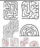 Mazes or labyrinths diagrams set. Set of Mazes or Labyrinths Graphic Diagrams Leisure Games Royalty Free Stock Photos