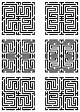 Mazes made with help of maze pattern Stock Images