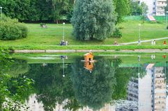 Mazilovsky pond. In the summer in Moscow Stock Images