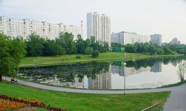 Mazilovsky pond. View of the pond Mazilovsky in Moscow Stock Images