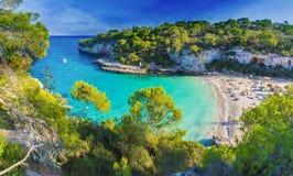 Mazingsstrand op Cala Llombards, Majorca-eiland, Spanje royalty-vrije stock foto