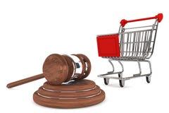 Mazo de la justicia con el carro de compras Foto de archivo libre de regalías