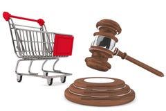 Mazo de la justicia con el carro de compras Imagen de archivo libre de regalías