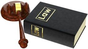 Mazo de la justicia y libro de ley Imágenes de archivo libres de regalías