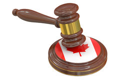 Mazo de madera con la bandera de Canadá, representación 3D ilustración del vector