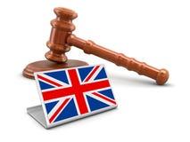mazo de madera 3d y bandera británica Imágenes de archivo libres de regalías
