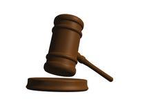 Mazo del juez aislado en blanco Imagen de archivo