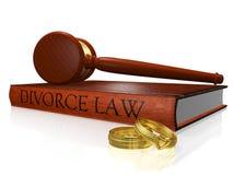 Mazo y alianzas de boda del libro de ley del divorcio Foto de archivo libre de regalías