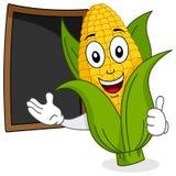 Mazorca de maíz alegre con la pizarra del menú ilustración del vector