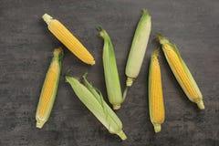 Mazorcas de maíz dulce sabrosas en la tabla, visión superior fotos de archivo libres de regalías