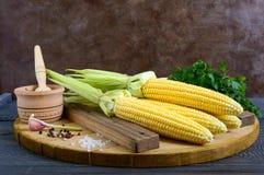 Mazorcas de maíz jovenes con las hojas, especias, hierbas, sal del mar imagen de archivo libre de regalías