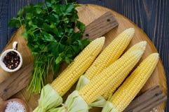 Mazorcas de maíz jovenes con las hojas, especias, hierbas, sal del mar foto de archivo