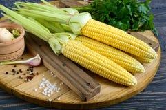 Mazorcas de maíz jovenes con las hojas, especias, hierbas, sal del mar fotografía de archivo libre de regalías