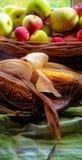 Mazorcas y manzanas hervidas de maíz imagenes de archivo