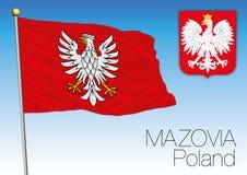 Mazovia regionale vlag, Polen Stock Afbeelding