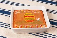 Mazurka cake on white blue tablecloth 5. Mazurka cake on a blue tablecloth and white in porcelain bowl Royalty Free Stock Images