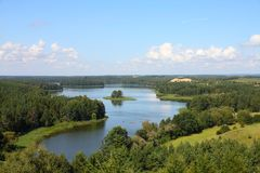 Mazury in Poland. Masuria (Mazury) - famous lake district in Poland. Summer landscape in Europe. Jedzelewo lake in Stare Juchy Stock Photos