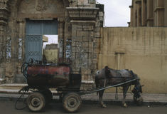 Mazut cart Syria. A horse drawn cart is used to deliver mazut (heating oil) to homes in Aleppo, Syria stock photos
