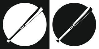 Mazza da baseball Mazza da baseball della siluetta su un fondo in bianco e nero Strumentazione di sport Illustrazione di vettore Fotografia Stock Libera da Diritti