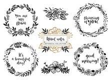 Mazzi del fiore, corone con le citazioni ispiratrici Botan floreale Fotografia Stock Libera da Diritti