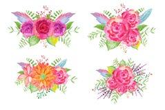 Mazzi del fiore dell'acquerello Fotografia Stock