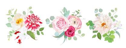 Mazzi di progettazione di vettore dei fiori del giardino Fotografie Stock Libere da Diritti