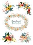 Mazzi floreali di scarabocchi disegnati a mano svegli Fotografia Stock Libera da Diritti