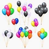 Mazzi realistici dei palloni Mazzo variopinto volante del pallone dell'elio del partito sull'insieme di vettore isolato corda illustrazione vettoriale