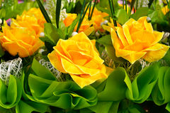 Mazzo artificiale della rosa di giallo Fotografia Stock