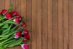 Mazzo attraente del tulipano su fondo di legno Fotografia Stock Libera da Diritti