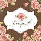 Mazzo Bello Logo Floral Shop d'iscrizione disegnato a mano illustrazione di stock