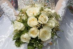 Mazzo bianco di cerimonia nuziale Fotografie Stock