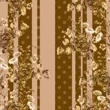 Mazzo bronzeo con pisello-carbone e le bande Modello senza cuciture su fondo marrone royalty illustrazione gratis