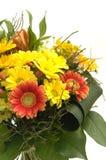 Mazzo con i fiori rossi e gialli Fotografie Stock
