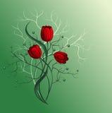 Mazzo con il tulipano rosso illustrazione vettoriale