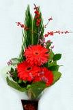 Mazzo con la gerbera e le foglie rosse del fiore della margherita Fotografia Stock