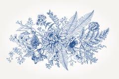 Mazzo con un giardino con i fiori Fotografia Stock