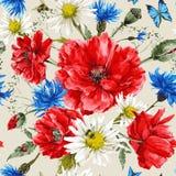 Mazzo d'annata dell'acquerello dei wildflowers, misero illustrazione vettoriale