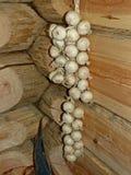 Mazzo d'attaccatura di cipolle su una parete di legno Interno di un izba agricolo Cucina del paese Stock per l'inverno immagine stock libera da diritti