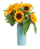 Mazzo dei fiori del tagete e dei girasoli Fotografia Stock