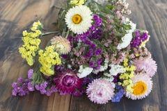 Mazzo dei fiori, di Statice e di Strawflower (limonium sinuatum Fotografia Stock Libera da Diritti